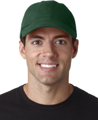 UltraClub 8111 Brushed Twill Unconstructed Dad Hat FOREST GREEN