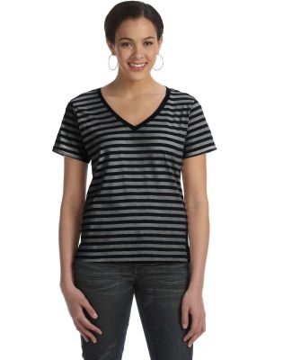8823 Anvil Woman's Striped V-Neck Tee Black / Black Heather