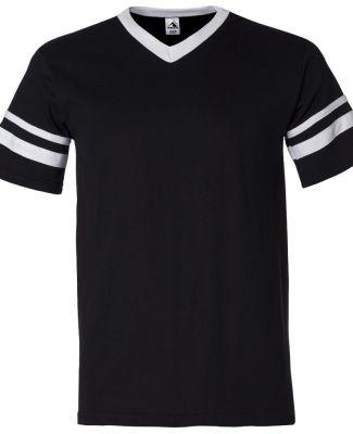 360 Augusta Sportswear Sleeve Stripe Jersey BLACK/ WHITE