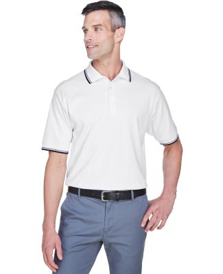 D140 Devon & Jones Men's Tipped Perfect Pima Int WHITE/ NAVY