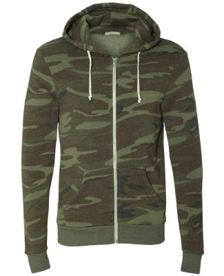 AA9590 Alternative Apparel Rocky Unisex Zip Up Hoo CAMO