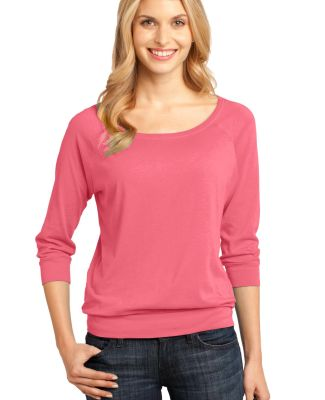 District Made 482 Ladies Modal Blend 3/4 Sleeve Ra Coral