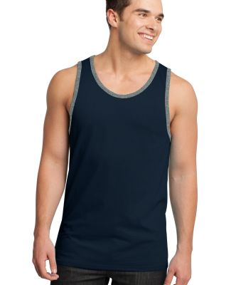 District Young Mens Cotton Ringer Tank DT1500 New Nvy/He Stl