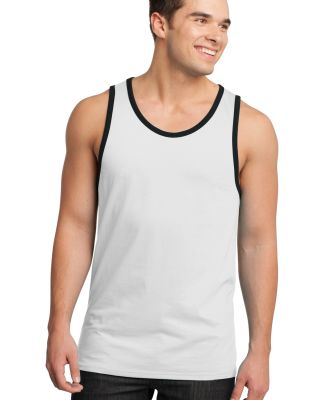 District Young Mens Cotton Ringer Tank DT1500 White/Black