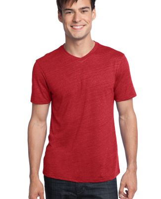 District Young Mens Textured Notch Crew Tee DT172 New Red