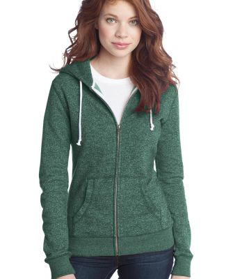 District Juniors Marled Fleece Full Zip Hoodie DT2 Mrld Evergreen