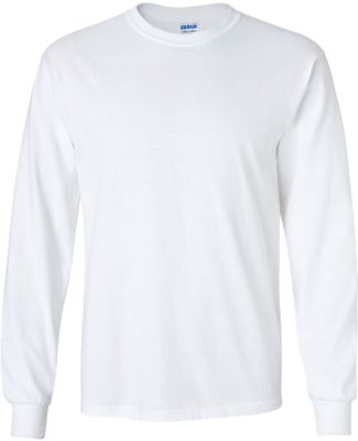 2400 Gildan Ultra Cotton Long Sleeve T Shirt  WHITE