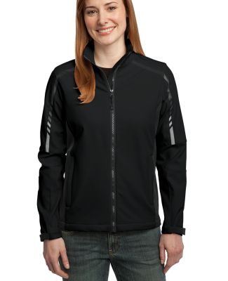 Port Authority Ladies Embark Soft Shell Jacket L30 Black/Dp Grey
