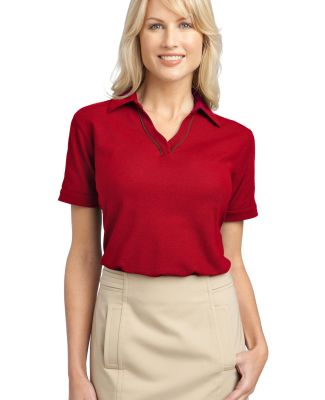 Port Authority Ladies Silk Touch153 Piped Polo L50 Red/Steel Grey