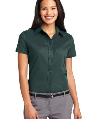 Port Authority Ladies Short Sleeve Easy Care Shirt Dark Green/Nvy