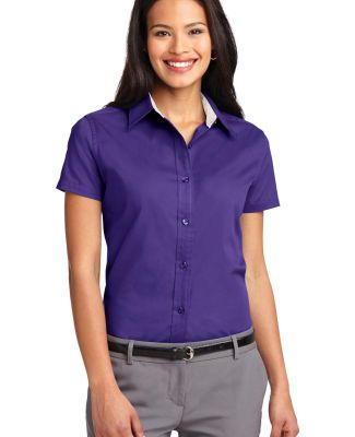 Port Authority Ladies Short Sleeve Easy Care Shirt Purple