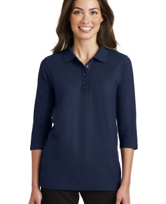 Port Authority Ladies Silk Touch153 34 Sleeve Polo Navy
