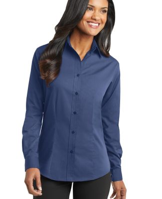 Port Authority Ladies Tonal Pattern Easy Care Shir Blue