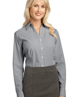 Port Authority Ladies Plaid Pattern Easy Care Shir Charcoal