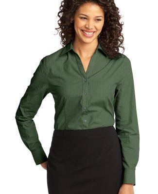 Port Authority Ladies Crosshatch Easy Care Shirt L Dk Cactus Grn
