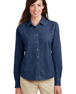 Port  Company Ladies Long Sleeve Value Denim Shirt Ink