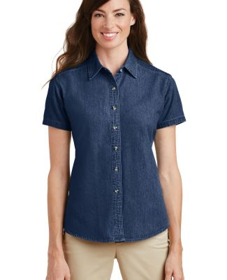 Port  Company Ladies Short Sleeve Value Denim Shir Ink