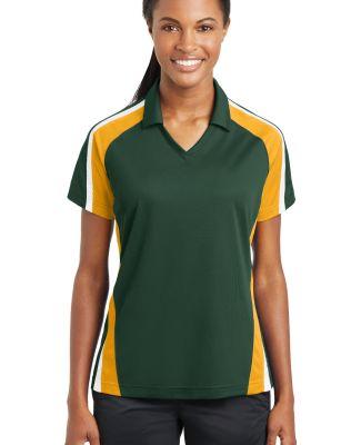 Sport Tek Ladies Tricolor Micropique Sport Wick Po Forest/Gold/Wh