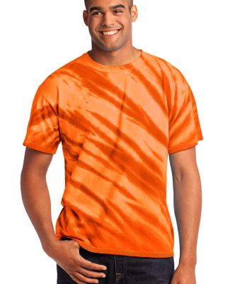 Port  Company Essential Tiger Stripe Tie Dye Tee P Orange