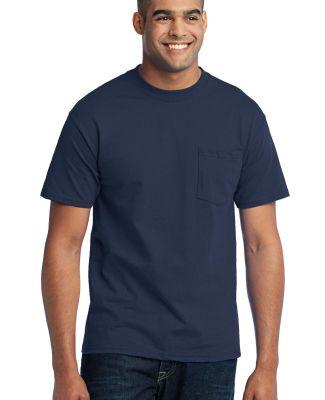 Port  Company 5050 CottonPoly T Shirt with Pocket  Navy