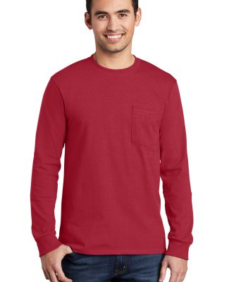 Port  Company Long Sleeve Essential T Shirt with P Red