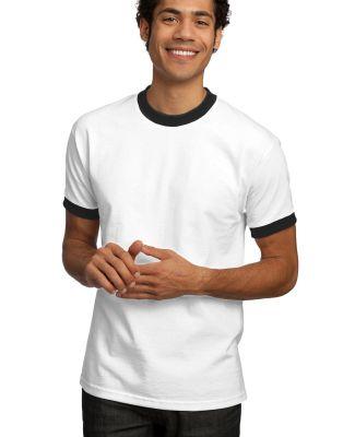 Port  Company Ringer T Shirt PC61R Wh/Black