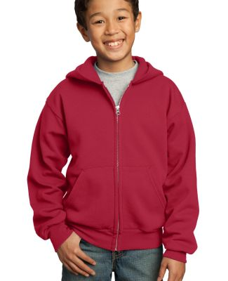 Port  Company Youth Full Zip Hooded Sweatshirt PC9 Red