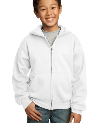 Port  Company Youth Full Zip Hooded Sweatshirt PC9 White