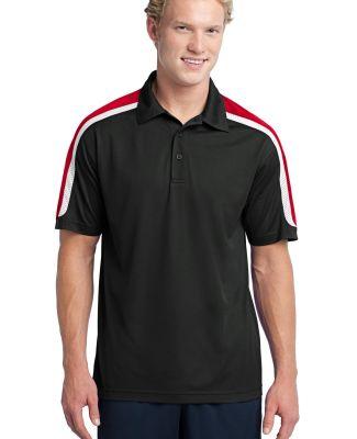 NEW Sport Tek Tricolor Shoulder Micropique Sport W Blk/Tr Red/Wht