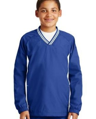 Sport Tek Youth Tipped V Neck Raglan Wind Shirt YST62 Catalog