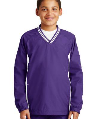 Sport Tek Youth Tipped V Neck Raglan Wind Shirt YS Purple/White