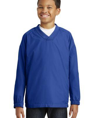 Sport Tek Youth V Neck Raglan Wind Shirt YST72 True Royal