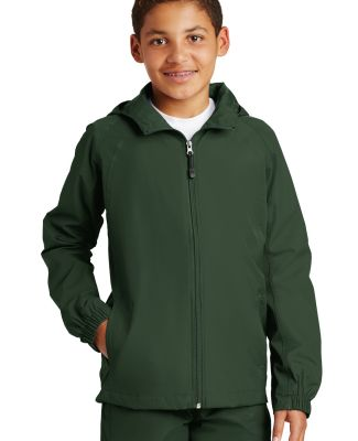 Sport Tek Youth Hooded Raglan Jacket YST73 Forest Green