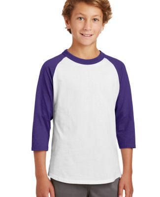 Sport Tek Youth Colorblock Raglan Jersey YT200 White/Purple