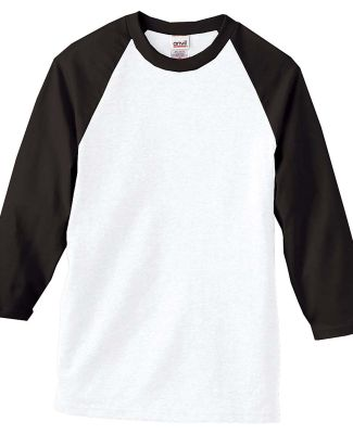 2184 Anvil Raglan Baseball Jersey (Discontinued) Black/White (Discontinued)