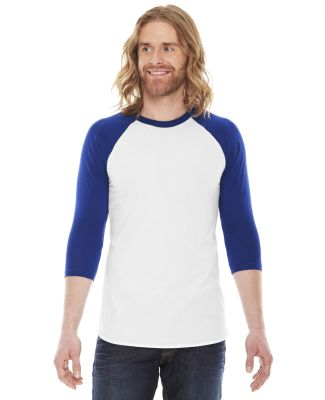 BB453 American Apparel Unisex Poly Cotton 3/4 Slee WHITE/ LAPIS