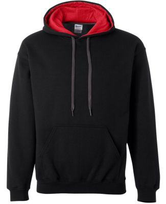 185C00 Gildan Adult Heavy BlendContrast Hooded Swe BLACK/ RED