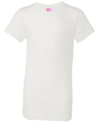 2616 LA T Girls' Fine Jersey Longer Length T-Shirt WHITE