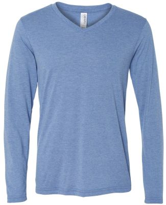 BELLA+CANVAS 3425 Mens Tri-Blend Long Sleeve V-Nec BLUE TRIBLEND