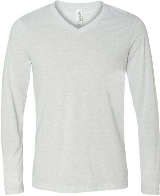 BELLA+CANVAS 3425 Mens Tri-Blend Long Sleeve V-Nec WHT FLECK TRIBLD