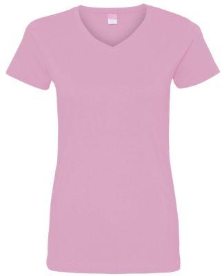 3507 LA T Ladies V-Neck Longer Length T-Shirt PINK