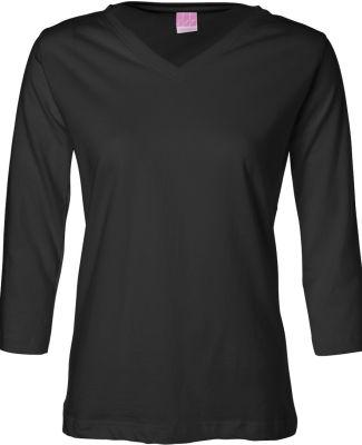 3577 LA T Ladies' V-Neck 3/4-Sleeve T-Shirt BLACK
