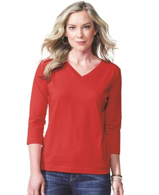 3577 LA T Ladies' V-Neck 3/4-Sleeve T-Shirt Catalog