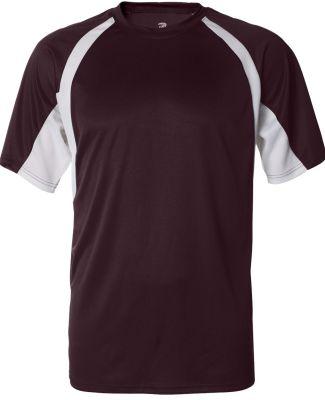 4144 Badger Adult B-Core Short-Sleeve Two-Tone Hoo Maroon/ White