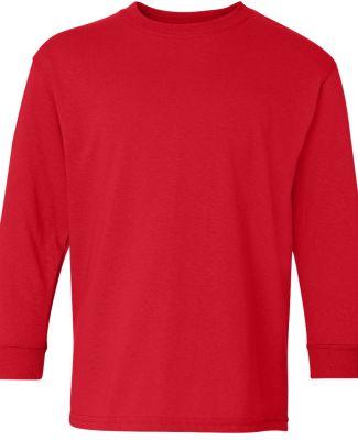 5400B Gildan Youth Heavy Cotton Long Sleeve T-Shir RED