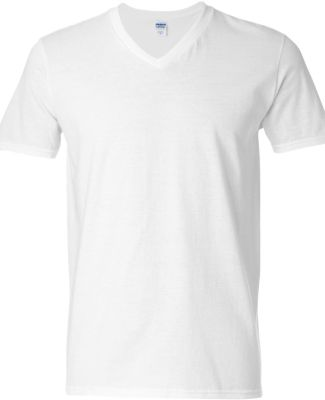 64V00 Gildan Adult Softstyle V-Neck T-Shirt WHITE