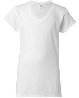 64V00L Gildan Junior Fit Softstyle V-Neck T-Shirt WHITE