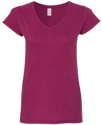 64V00L Gildan Junior Fit Softstyle V-Neck T-Shirt BERRY
