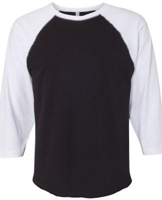 6930 LA T Adult Vintage Baseball T-Shirt BLACK/ WHITE