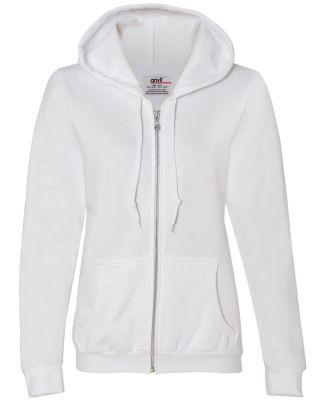 71600FL Anvil Ladies' Fashion Full-Zip Blended Hoo White